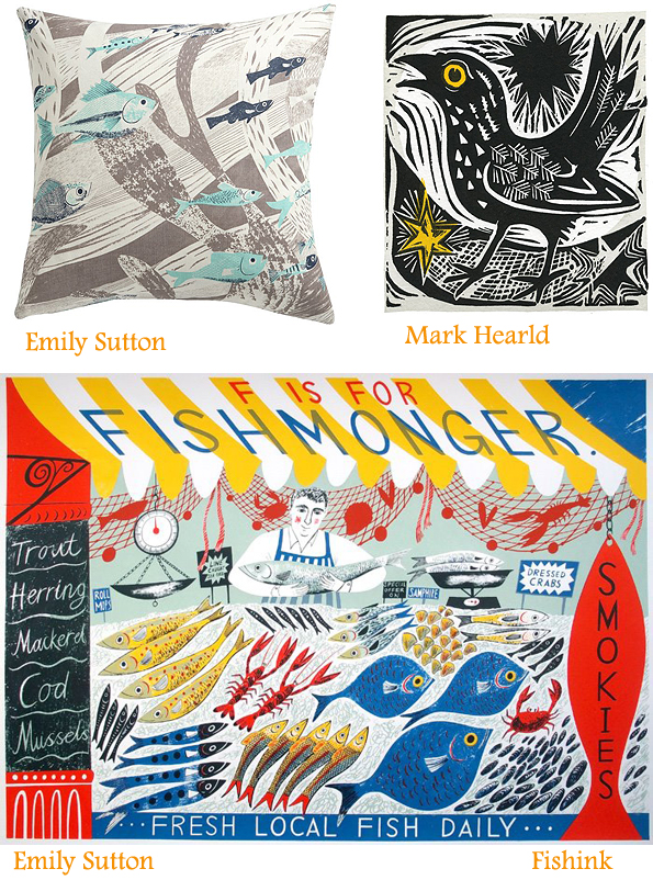 'Harvest Hare' Wallpaper by Mark Hearld and a beautiful new screen print 'The Yellow Cup' by Angie Lewin.